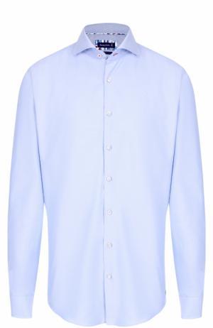 Хлопковая сорочка с воротником акула Jacques Britt. Цвет: голубой