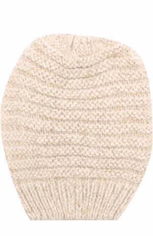 Вязаная шапка с отделкой металлизированной нитью Deha. Цвет: бежевый