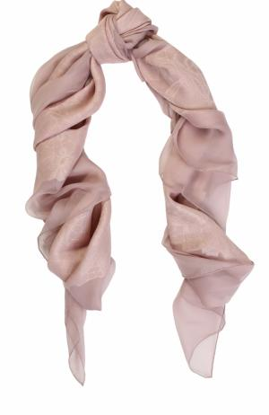 Платок из шелка и вискозы вышивкой Elie Saab. Цвет: розовый