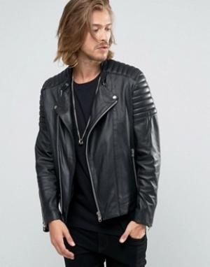 Goosecraft Черная кожаная байкерская куртка с асимметричной молнией. Цвет: черный