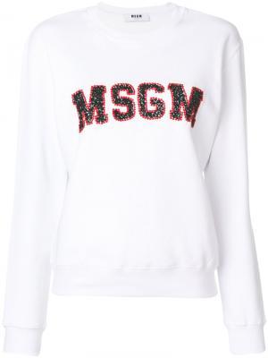 Толстовка с логотипом MSGM. Цвет: белый