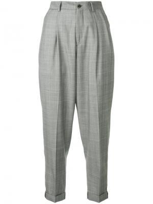 Plaid cropped trousers R13. Цвет: серый