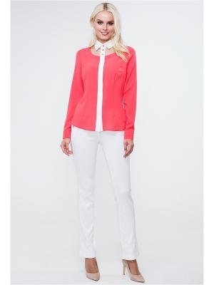 Блузка MARY MEA. Цвет: коралловый, молочный
