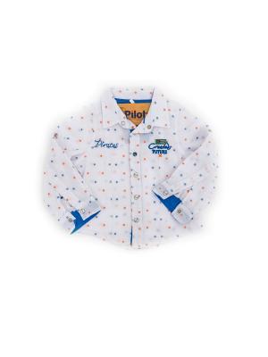 Рубашка Pilota. Цвет: синий, белый, оранжевый