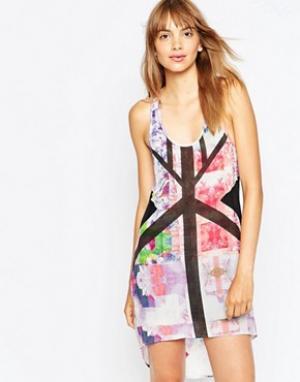 Suboo Платье с цветочным принтом. Цвет: мульти