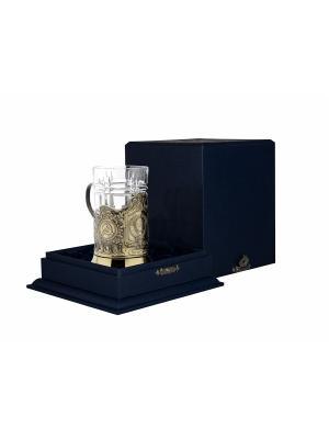 Набор для чая латунный с чернением Герб СССР (подстаканник + стакан футляр) Кольчугинъ. Цвет: золотистый