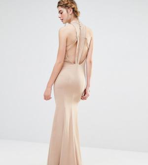 Jarlo Свадебное платье макси с высокой горловиной и отделкой спинки. Цвет: коричневый