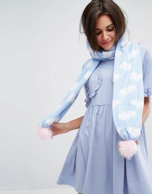 Lazy Oaf Вязаный шарф с облаками. Цвет: синий