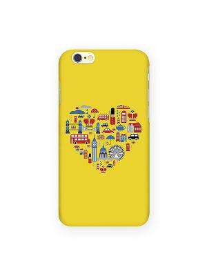 Чехол для IPhone 6 Лондон на желтом Mitya Veselkov. Цвет: желтый, синий, красный