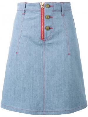 Джинсовая юбка X Lee с аппликациями-сердцами House Of Holland. Цвет: синий