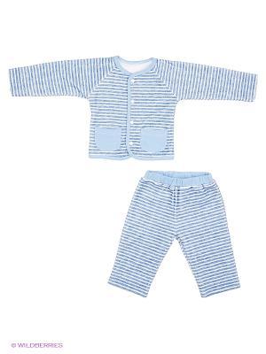 Костюм на подкладке: кофточка, штанишки с манжетами Goldy. Цвет: синий