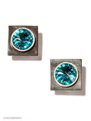 Серьги Jenavi. Цвет: голубой, коричневый, серебристый