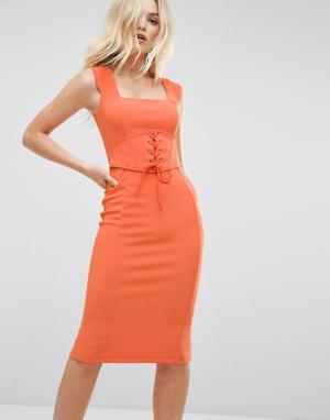 ASOS Платье-футляр в рубчик с корсетом Premium. Цвет: оранжевый