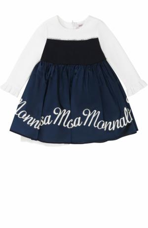Комбинированное платье с многослойной юбкой и вышивкой Monnalisa. Цвет: синий