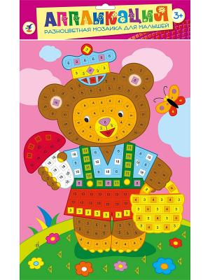 Разноцветная мозаика для малышей. Мишка Дрофа-Медиа. Цвет: розовый