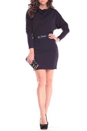 Полуприталенное платье Laura Bettini. Цвет: темно-синий
