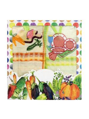 Набор вафельных полотенец - 2 шт. (45*68) Dorothy's Нome. Цвет: оранжевый, салатовый