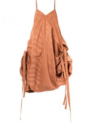 Расклешенное платье Y / Project. Цвет: коричневый