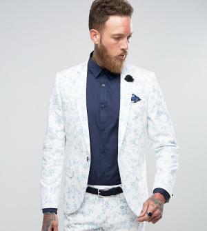 Noose & Monkey Супероблегающий пиджак с бархатистой отделкой Wedding. Цвет: белый