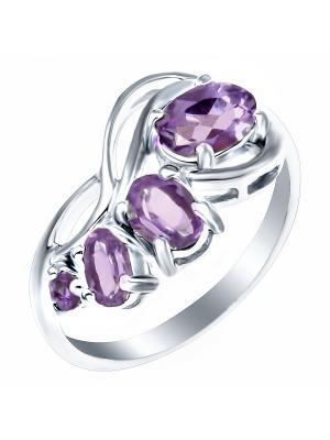 Кольцо Teosa. Цвет: серебристый, фиолетовый
