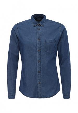 Рубашка джинсовая oodji. Цвет: синий