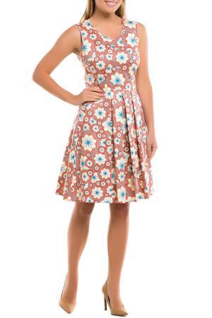 Платье Remix. Цвет: желто-оранжевый, цветы