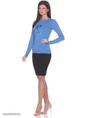 Женский вязаный джемпер с длинными рукавами SMART&FANCY. Цвет: голубой