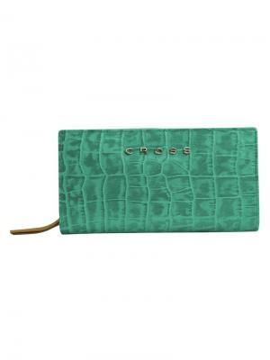 Клатч-кошелёк  Bebe Coco кожа наппа ,фактурная Cross. Цвет: зеленый, рыжий