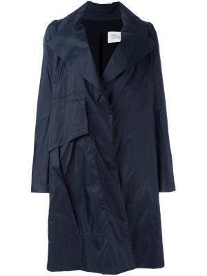 Расклешенное пальто с застежкой на пуговицу Quetsche. Цвет: синий