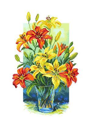 Рисунок на канве Лилии в вазе Матренин Посад. Цвет: желтый