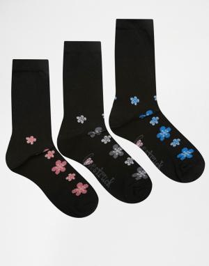 Lovestruck 3 пары носков с цветочным принтом. Цвет: черный