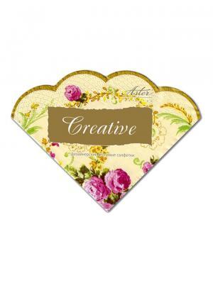 Салфетки Creative round 32х32 см, Элегантность, 3-слойные, 12 шт./уп Aster. Цвет: бежевый, розовый