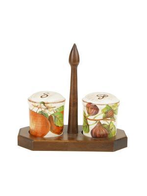 Набор емкостей под соль/перец (6,5*6,5*8,5) на деревянной подставке Sestesi. Цвет: молочный