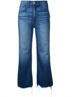 Укороченные джинсы клеш 3X1. Цвет: синий