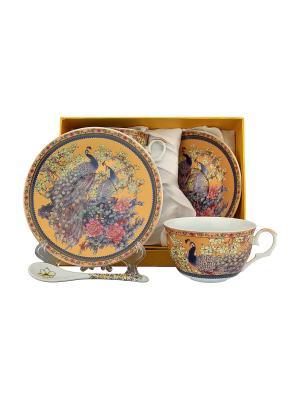 Чайная пара Павлин золотой Elan Gallery. Цвет: золотистый, синий, коричневый, розовый