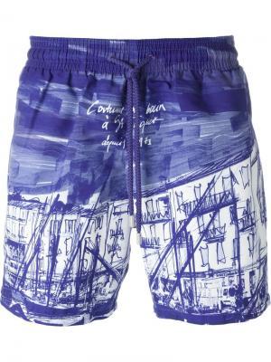 Плавательные шорты с графическим принтом Vilebrequin. Цвет: розовый и фиолетовый