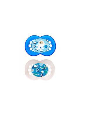 Пустышка силиконовая MAM Original  2 шт. 6-16 месяцев. Цвет: синий, белый
