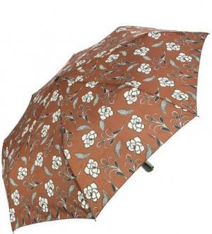 Коричневый зонт с цветочным принтом Doppler. Цвет: цветочный принт