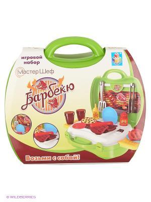 Игровой набор в чемоданчике Мастер-Шеф Барбекю,23 предмета 1toy. Цвет: салатовый