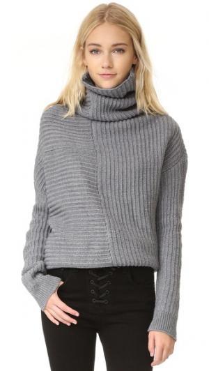 Вязаный свитер с драпировкой Ministry of Style. Цвет: голубой