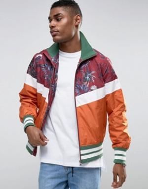 ASOS Спортивная куртка на молнии с пальмовым принтом. Цвет: красный