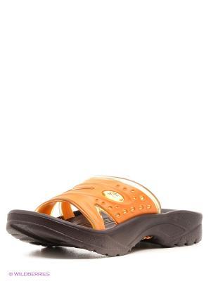 Шлепанцы Дюна. Цвет: оранжевый, темно-коричневый