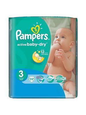 Подгузники Active Baby-Dry 5-9 кг, 3 размер, 22 шт. Pampers. Цвет: зеленый