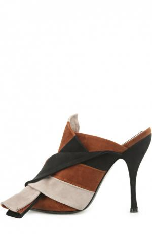 Замшевые мюли с декоративным узлом No. 21. Цвет: коричневый