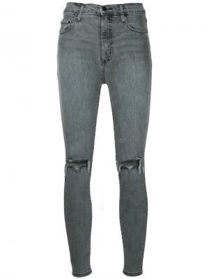 Облегающие укороченные джинсы Siren Nobody Denim. Цвет: серый