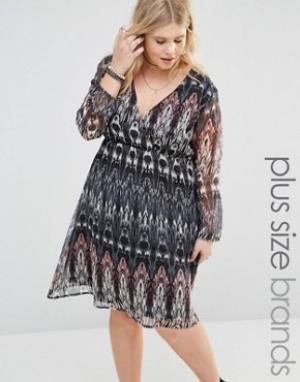 Diya Платье размера плюс с длинными рукавами. Цвет: мульти