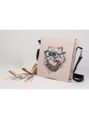 Набор для шитья и вышивания текстильная сумка-планшет Стиляга Матренин Посад. Цвет: серый, бежевый, синий