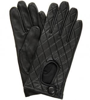 Черные кожаные перчатки ELEGANZZA. Цвет: черный
