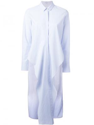Удлиненная рубашка с шлицами по бокам Brunello Cucinelli. Цвет: синий
