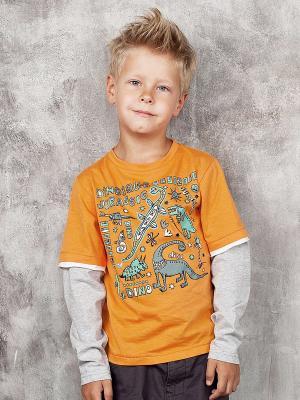 Лонгслив Viaggio bambini. Цвет: светло-оранжевый, серый